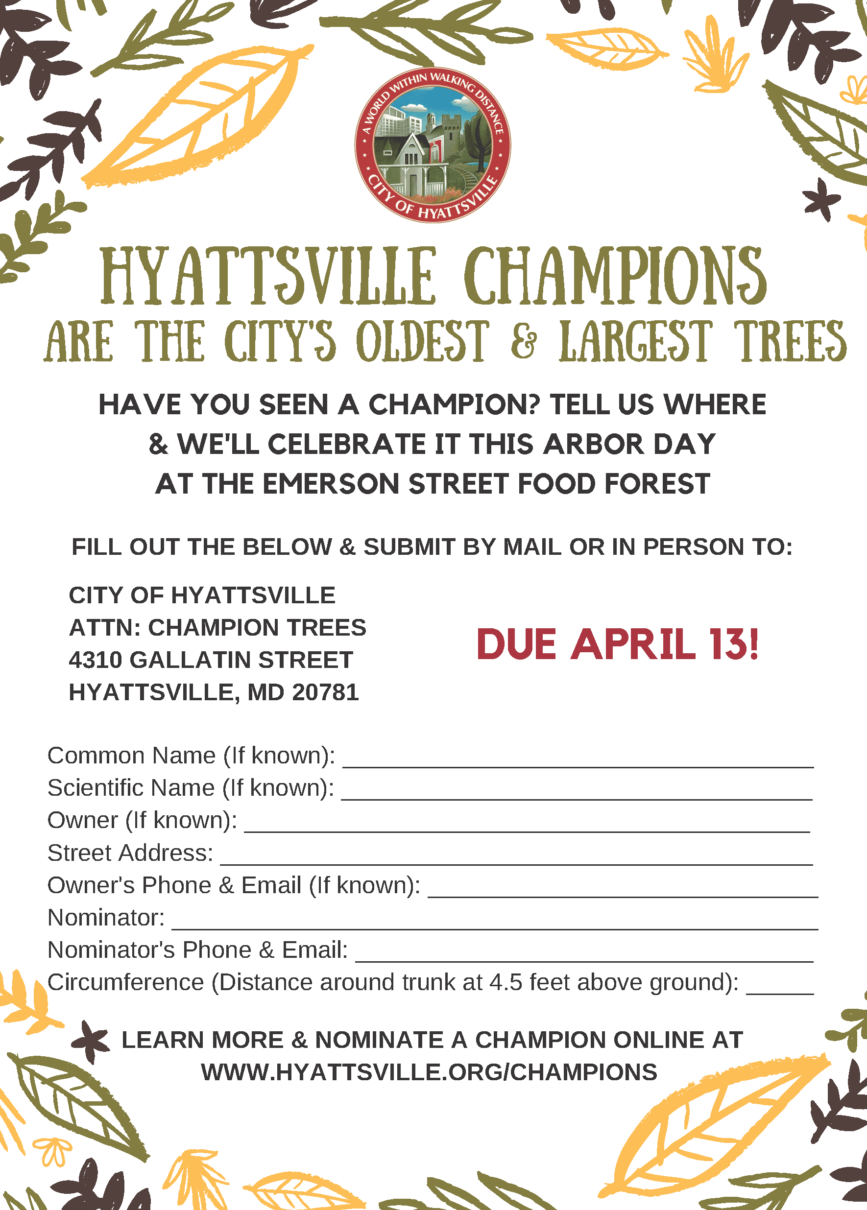 2018 Champion Trees Flyer and Nomination Form