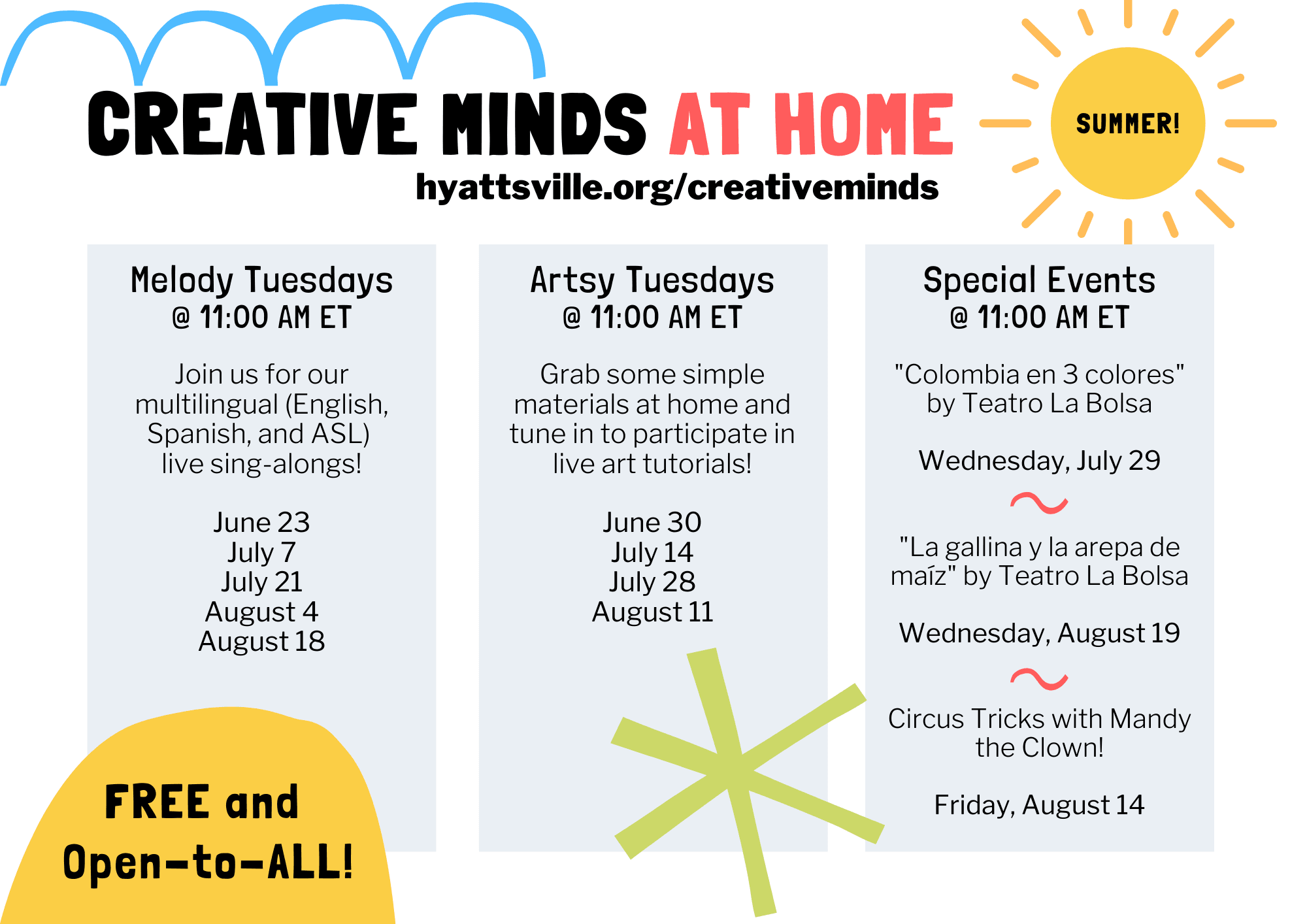 Schedule of Creative Minds at Home summer, online