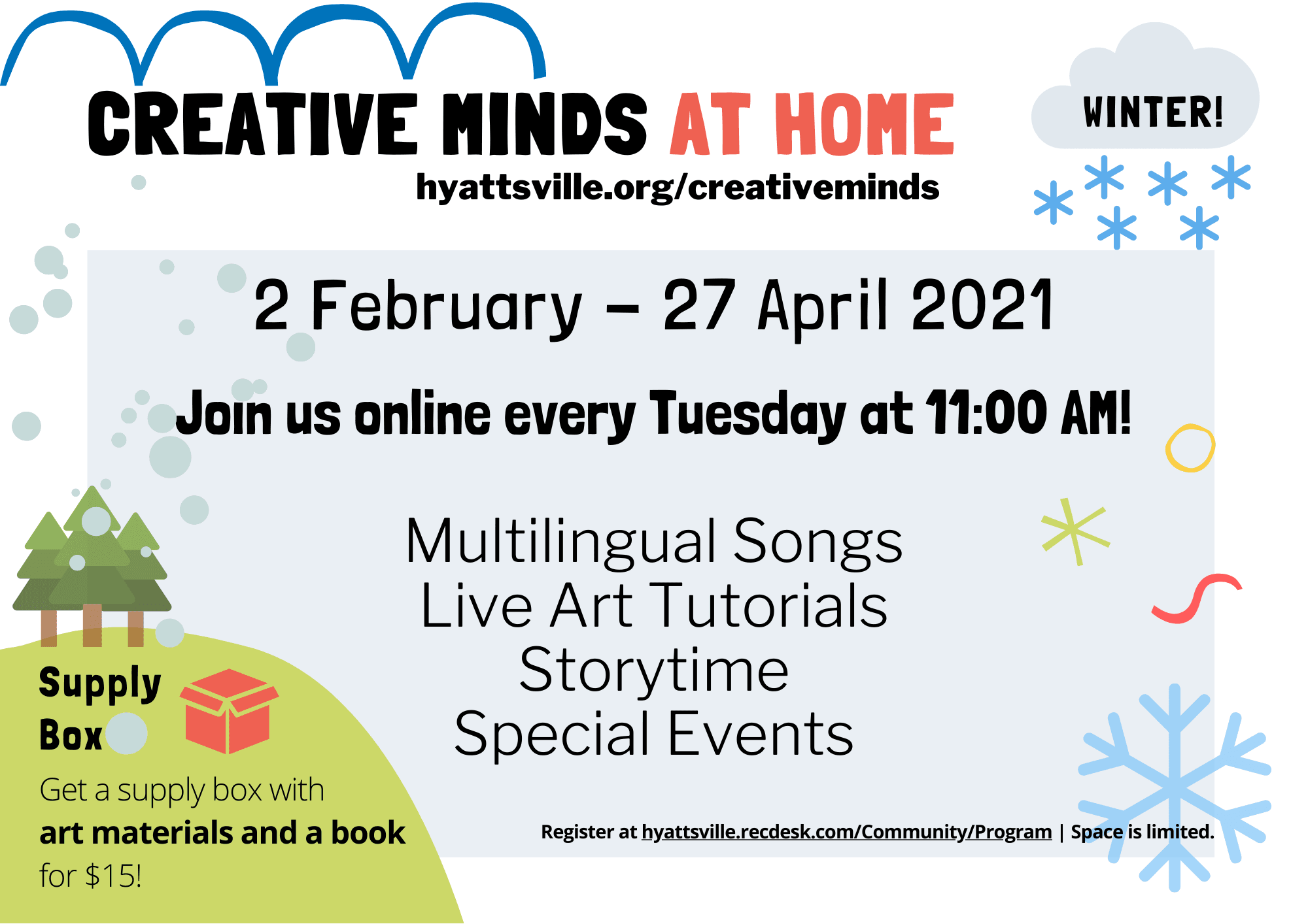 Flyer describing Creative Minds at Home Winter 2021 offerings